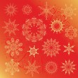 Snowflakes, Christmas design elements on a red background — Stock Vector