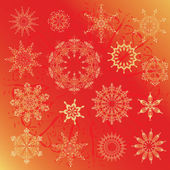 Snowflakes, Christmas design elements on a red background — Vector de stock
