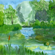 Summer landscape, gouache sketch, imitation of children's drawin — Stock Photo