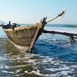 Stock Photo: Inditraditional wooden fishing boat. GOA