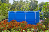 Frame pool in a lush garden — Stock Photo