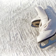 Stock Photo: Women white skates. Abstract background on a winter sports theme