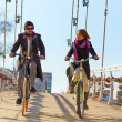 Young couple riding a bicycle across the bridge — Stock Photo