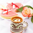 Coffee, heart shaped cookies with notes, rose. Pleasant breakfas — Stock Photo
