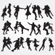 Silhouettes of skaters on a white background. Set of icons. EPS — Stock Vector