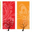 Four seasons tree banners — Stock Vector