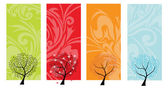 Four seasons tree banners — Vector de stock