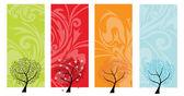 Quatre saisons d'arbre bannières — Vecteur
