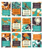 12 floral invitations — Stock Vector