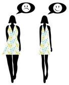 Mujer antes y después de la pérdida de peso — Vector de stock