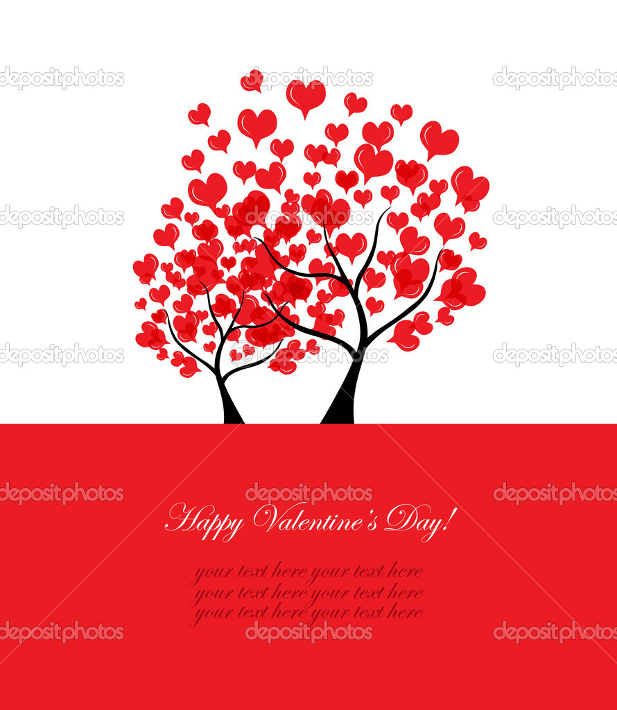 Valentines card with abstract love trees and place for text, in red white colors — Stock Vector #18670987