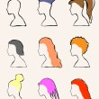 Set of 9 girls with different hairstyles - Stock Vector