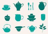 Set of tea accessories — Stock Vector