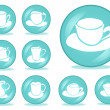 Set of 9 coffee buttons - Stock Vector