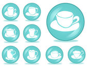 Set of 9 coffee buttons — Stock Vector