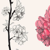 Decorative cherry blossom — Vector de stock