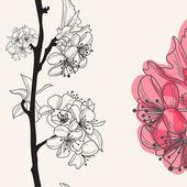 Decorativo flor de cerezo — Vector de stock