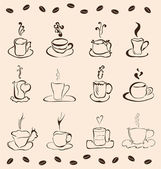 Set of 12 cups of coffee — Stock Vector