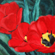Stock Photo: Red tulips painting