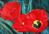 Rote tulpen, malerei — Stockfoto