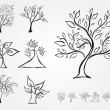 Set of 7 decorative trees — Stock Vector