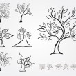 Stock Vector: Set of 7 decorative trees