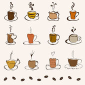 Set of 12 decorative coffee cups — Stock Vector