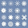 Set of 16 snowflakes — Stock Vector