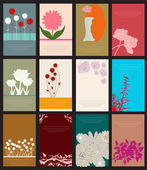Zestaw 12 kartki kwiatkowe — Wektor stockowy