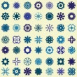 Set of 49 snowflakes — Stock Vector