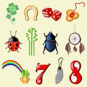 Conjunto de 12 símbolos de la suerte — Vector de stock