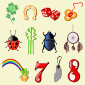 Set of 12 symbols of luck — Stockvektor