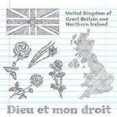 Floral symbols of United Kingdom of Great Britain and Northern I — 图库矢量图片