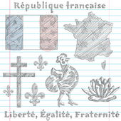 Symbols of French Republic, sketch — Stock Vector