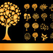 Set of 16 golden tree silhouettes — Stock Vector