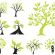 Set of 9 green trees — Stock Vector