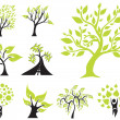 Set of 9 green trees — Stock Vector #34369995