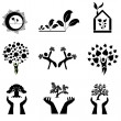 Set of 9 ecology icons — Stock Vector