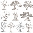 Set of 10 decorative trees — Stock Vector
