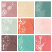 Set of 9 floral invitations — Stock Vector
