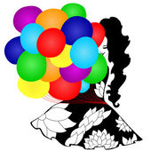 девушка с разноцветные шары — Cтоковый вектор