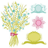 Floral bouquet with banners — Stockvector