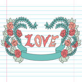 Decorative love banner — ストックベクタ