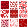 Stock Vector: Set of 9 romantic seamless patterns