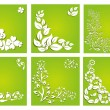 Stock Vector: Set of 6 floral invitations