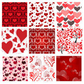 Set of 9 romantic seamless patterns — Stock Vector