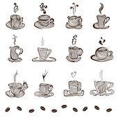 Satz von kaffeetassen — Stockvektor