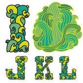 I, J, K, L letters — Stock Vector