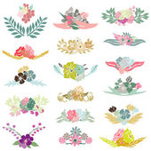 17 floral bouquets — Stock Vector