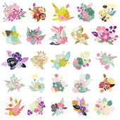 25 floral bouquets — Stock Vector